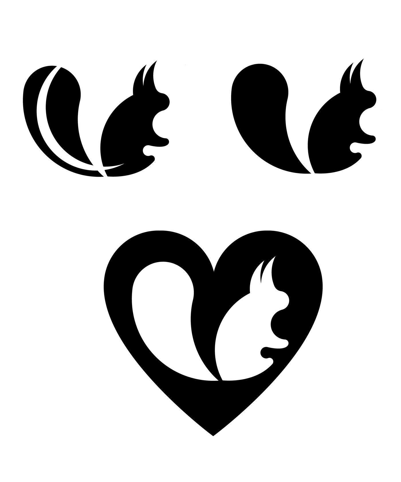 logo squirrel Silhouette design graphics art Icon heart decoration