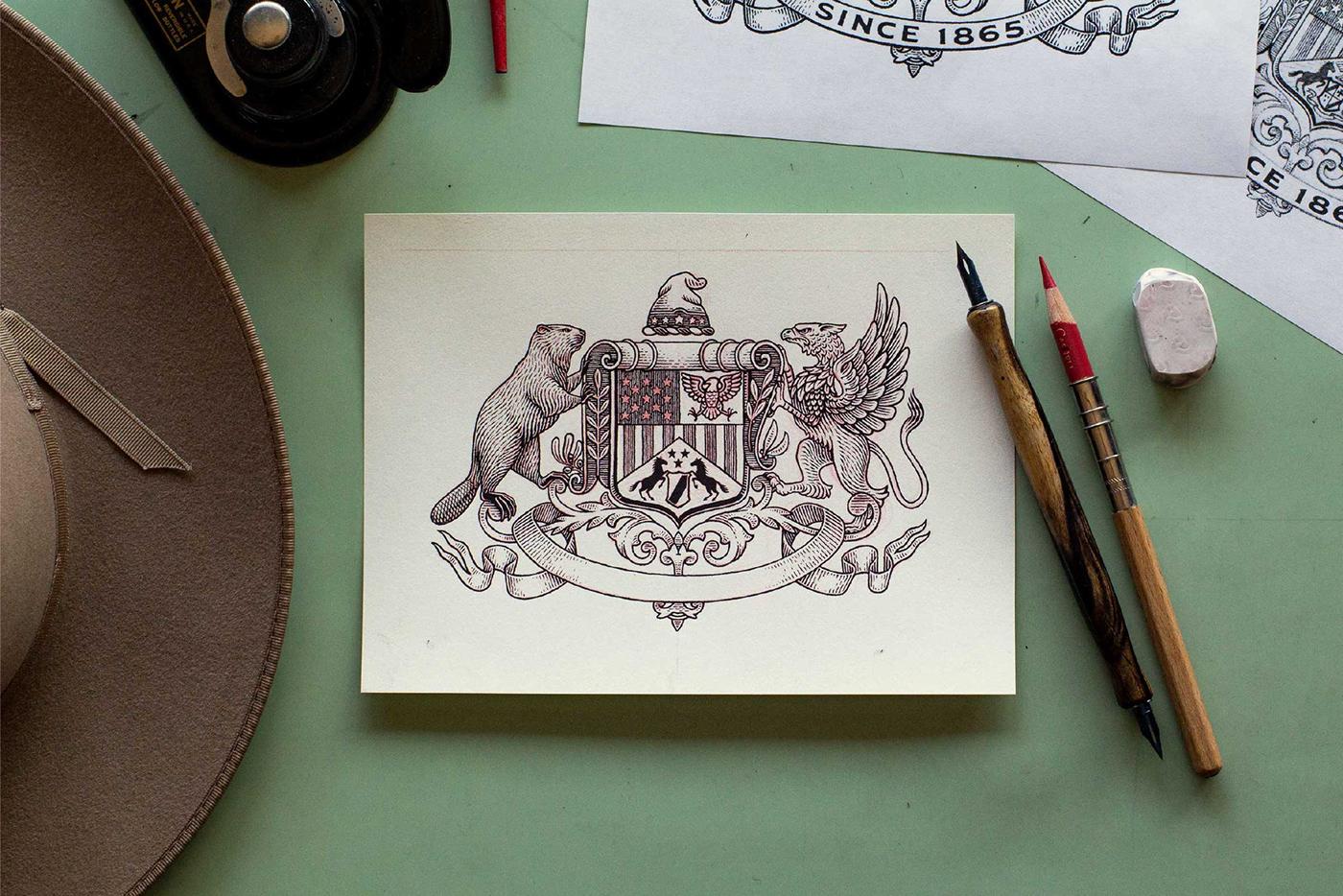 cowboy hat historic ILLUSTRATION  mark stetson Tractorbeam western crest ink pen