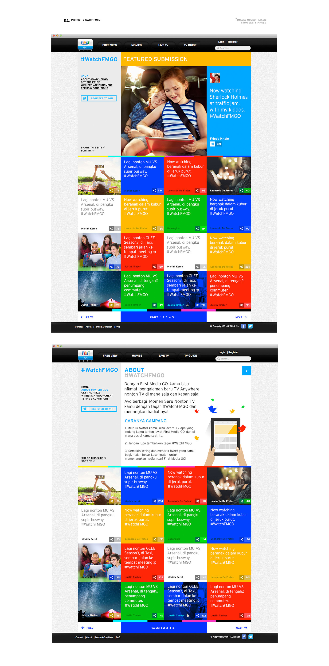 FirstMedia Rise Indonesia Website user interface user experience go