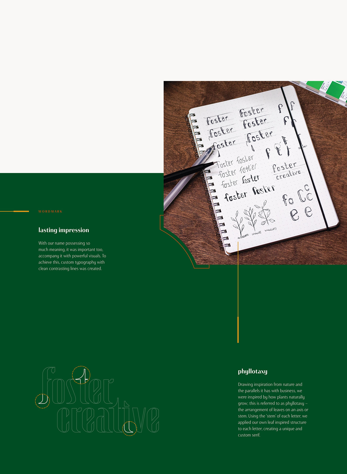 The process work on how the monogram and wordmark where developed for Foster Creative.
