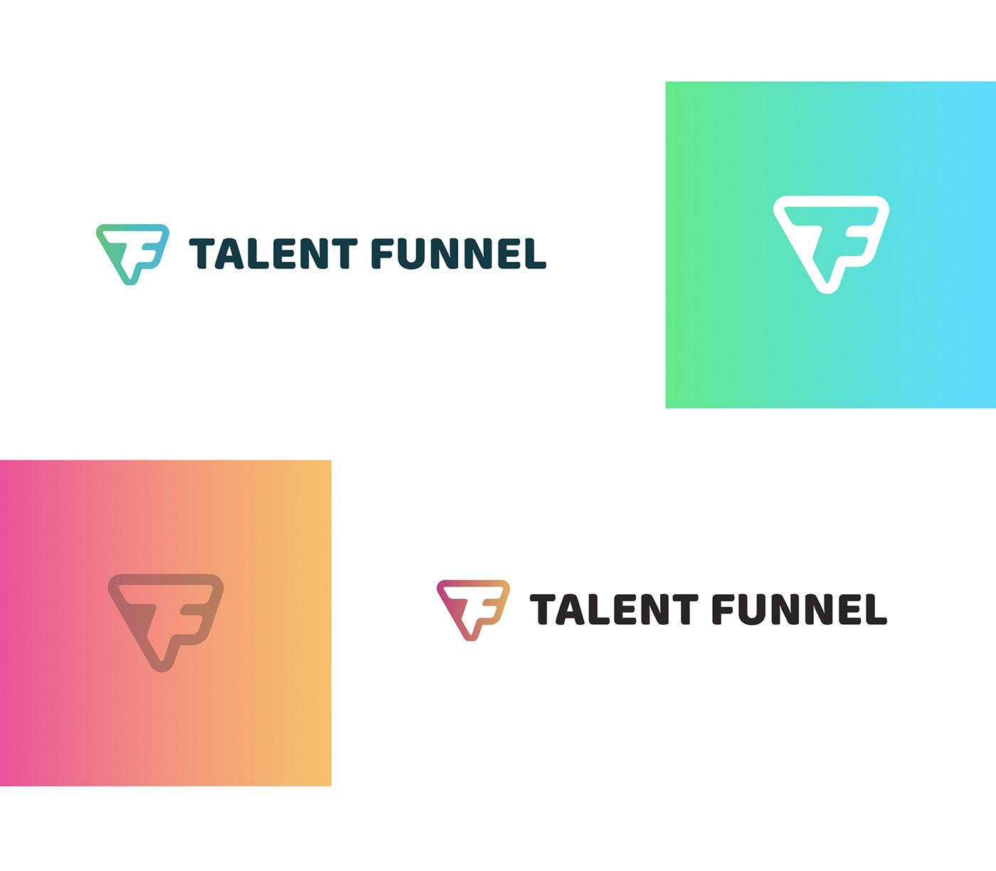 branding  logo people funnel HR system dashboard green blue