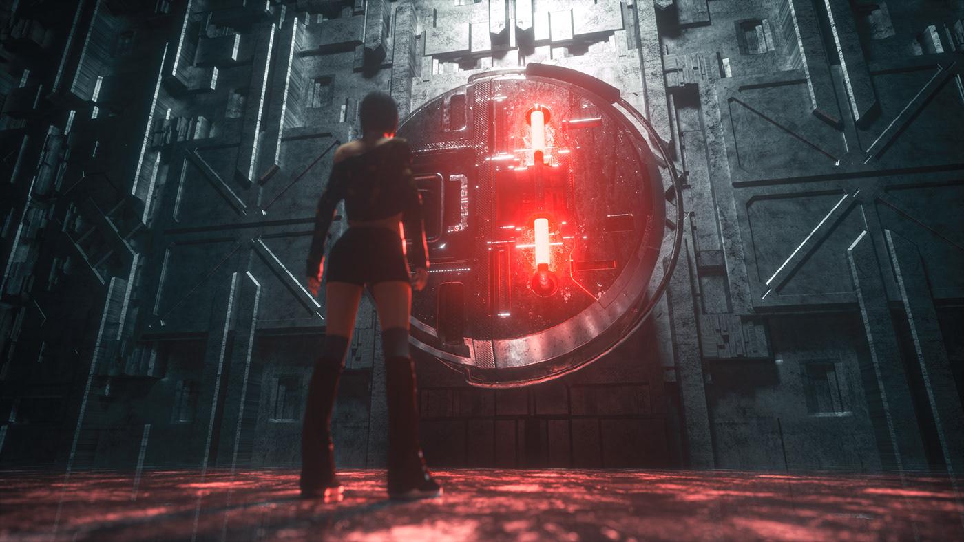 Cyberpunk gate Sci Fi tomb raider