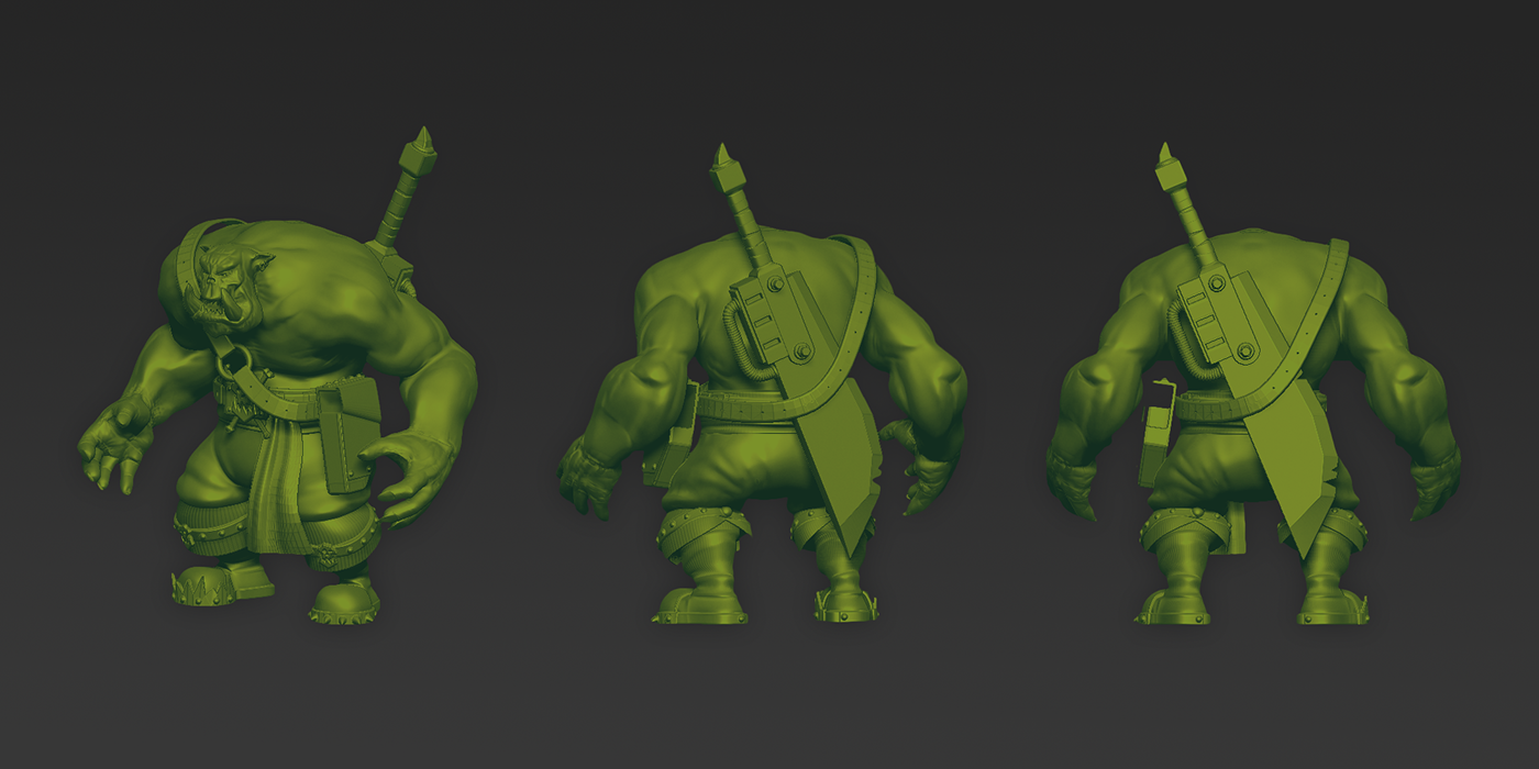 ork orc Games 3D cocncept mobile Character