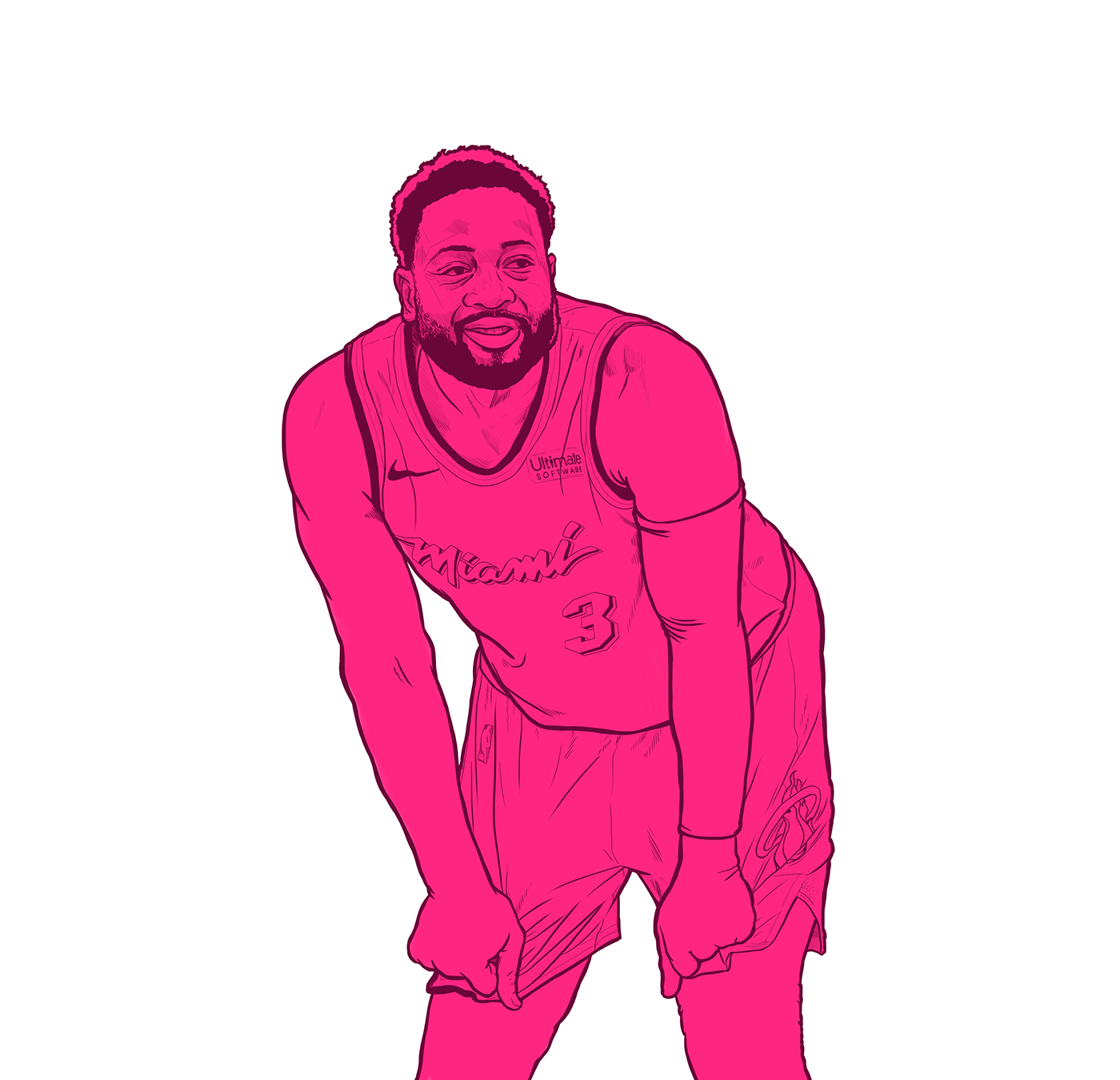 Nba Dwyane Wade Bday Illustration Miami Vice Edition On Behance