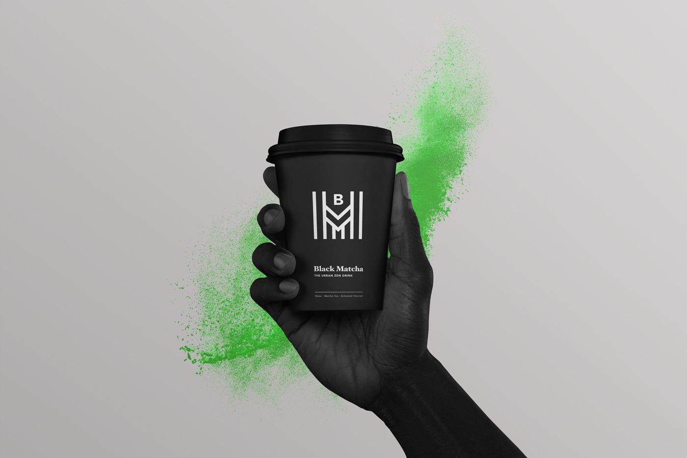 beverage black branding  concept design identity Identity Design matcha Packaging product design