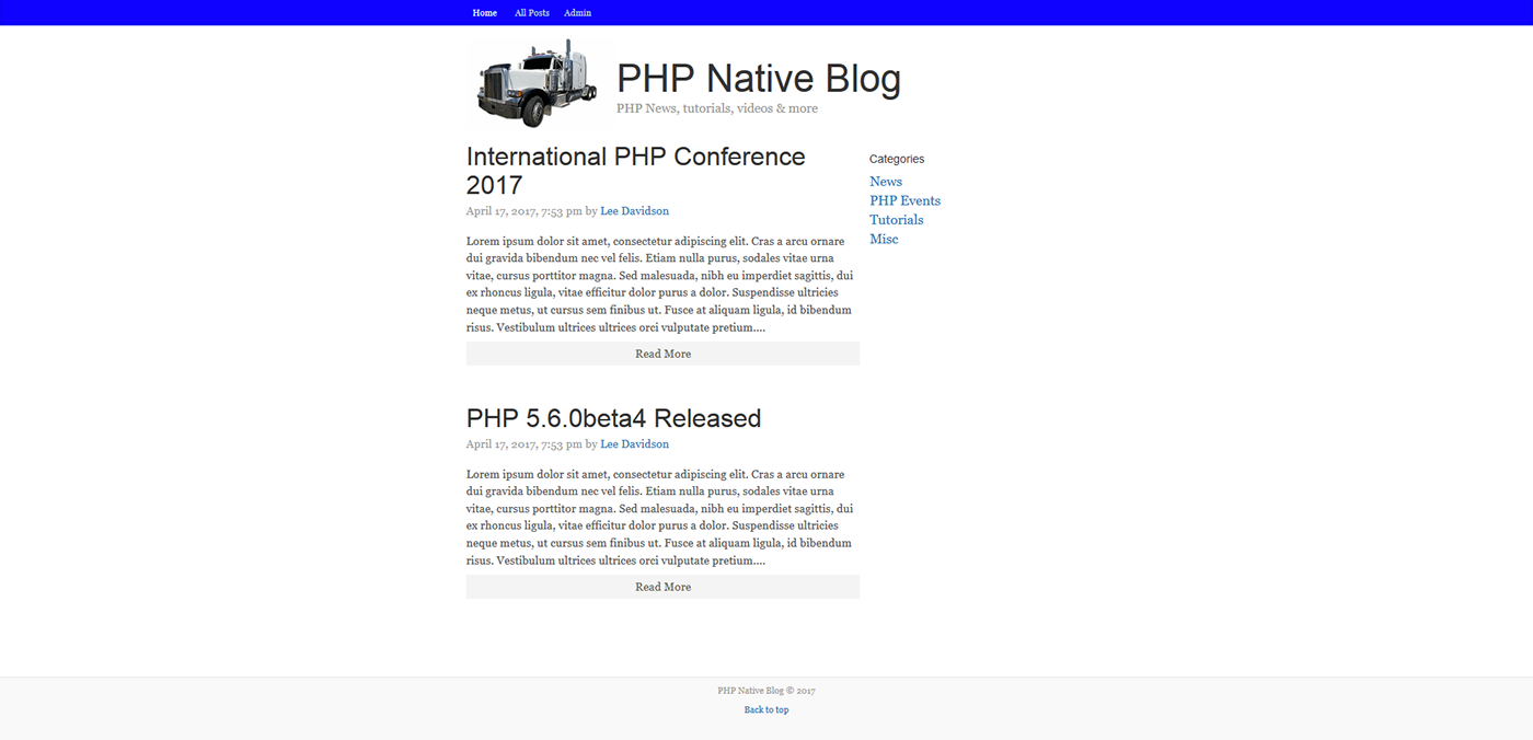 PHP Native Blog System