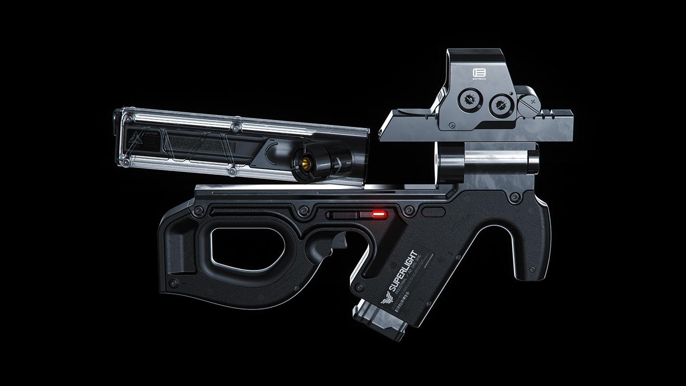 Weapon concept design Scifi HardSurface 3D prop Render octane Fusion360