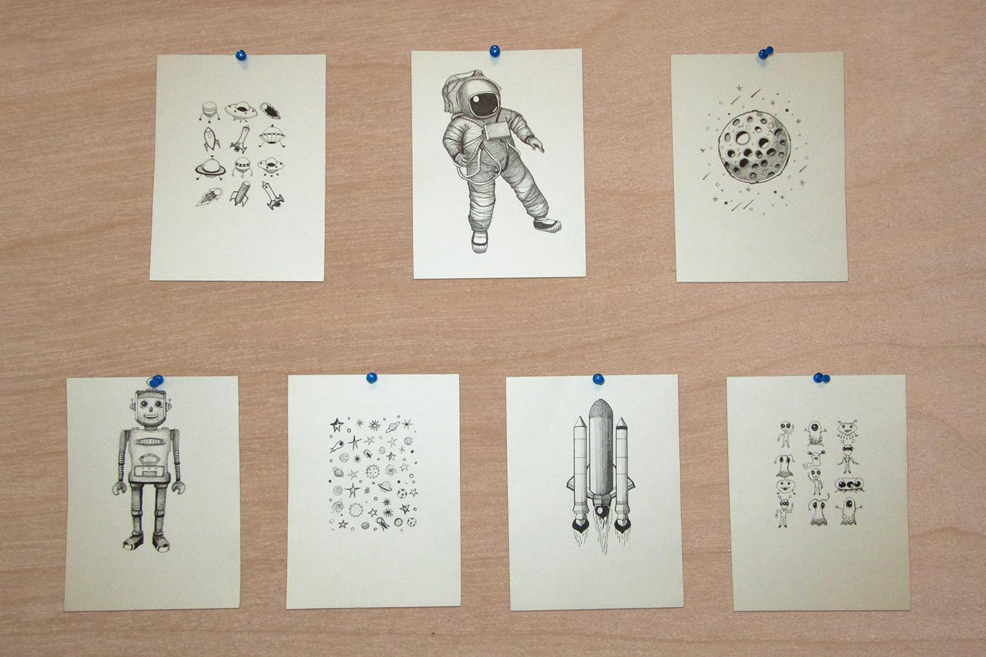 astronaut ILLUSTRATION  liners robot
