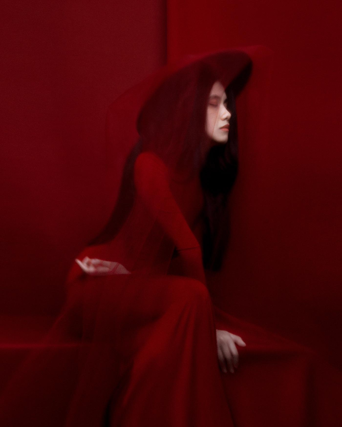 Beautiful beauty Fashion  hair model portrait red studio woman Young