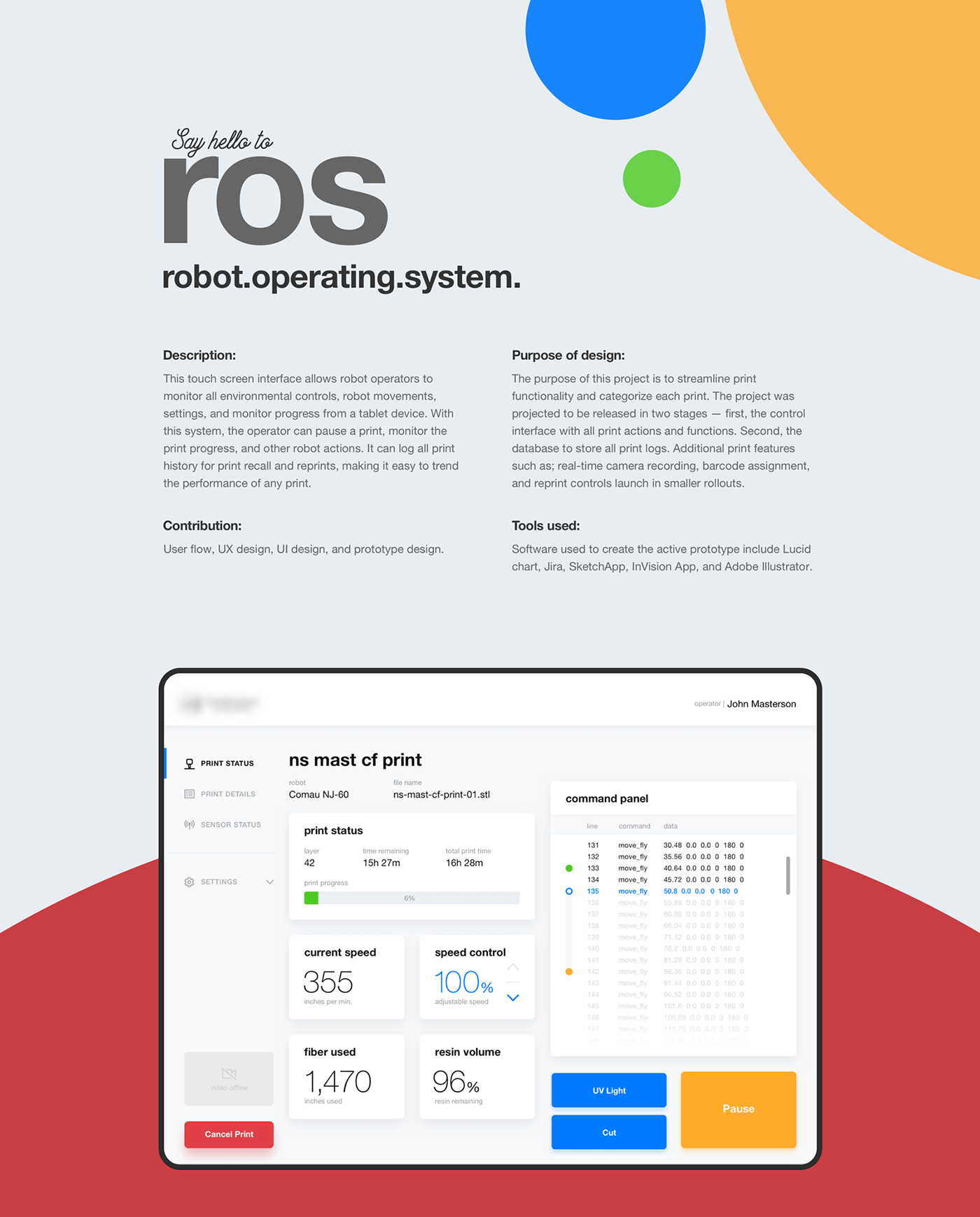 robot operating system touch screen Interface iPad ros control interface prototype industrial