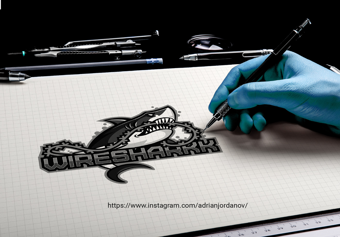 logo on paper mockup shark