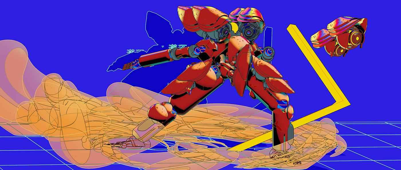 bot Character design  concept Cyberpunk hero design ILLUSTRATION  robot sci-fi story team design
