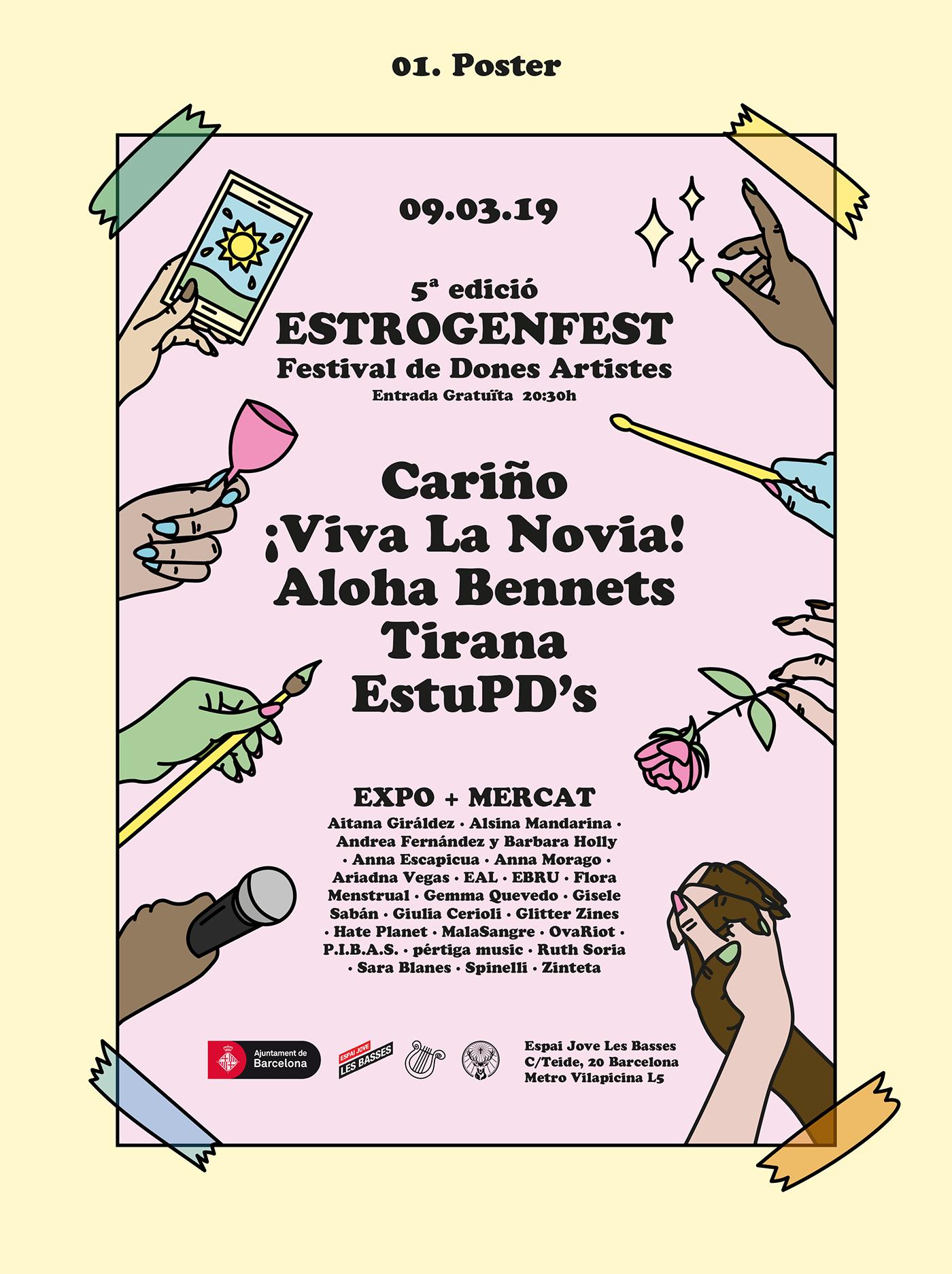 poster cartel ILLUSTRATION  feminisim women artist music festival festival poster 2D