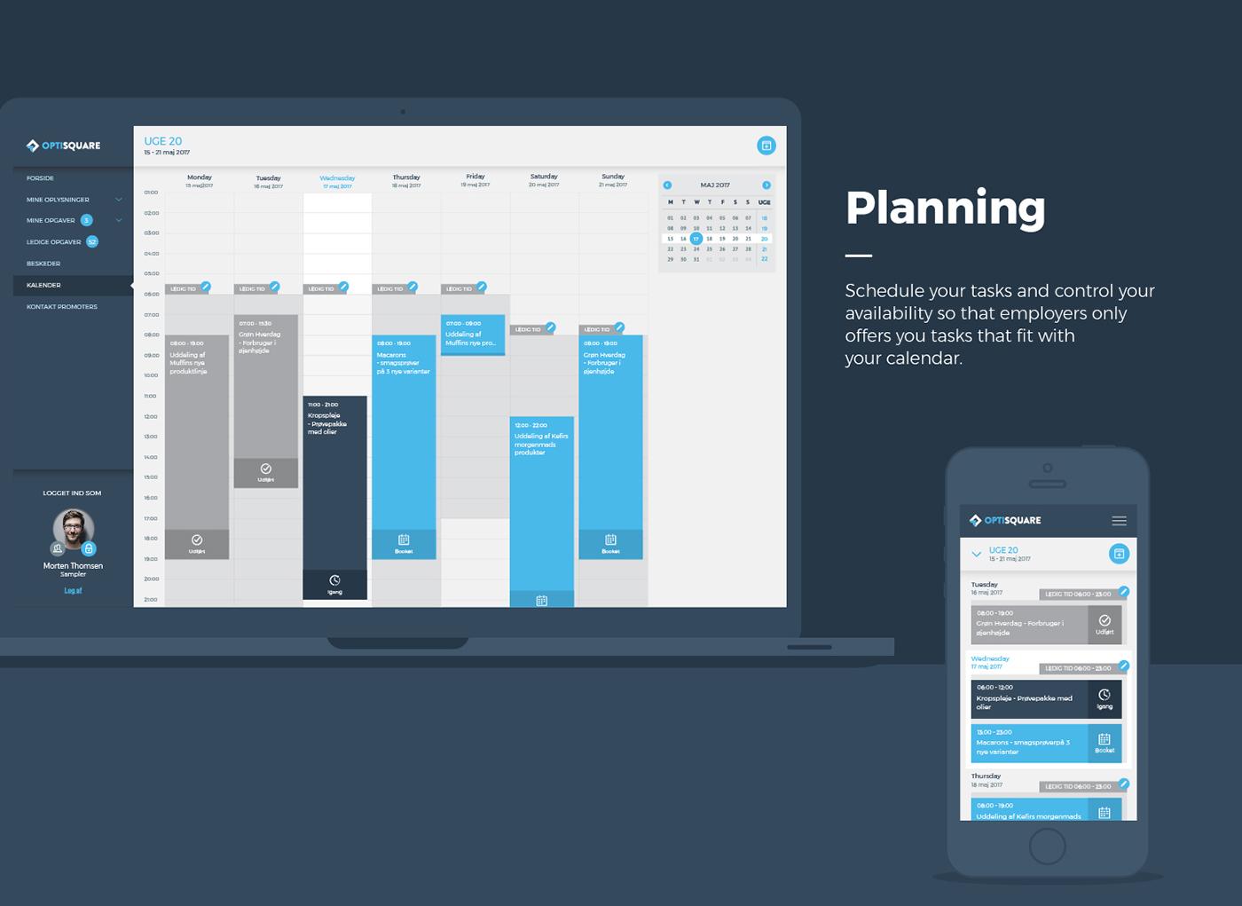 UI user Interface Optisquare voight danish Web design development internal