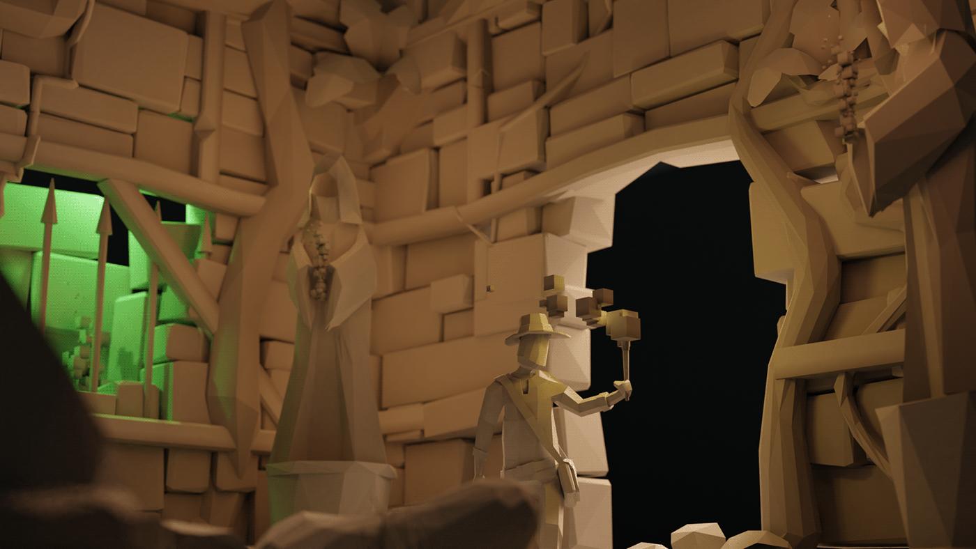 3D 3dart blender Eevee Isometric lighting lowpoly Lowpolyart madewithblender temple