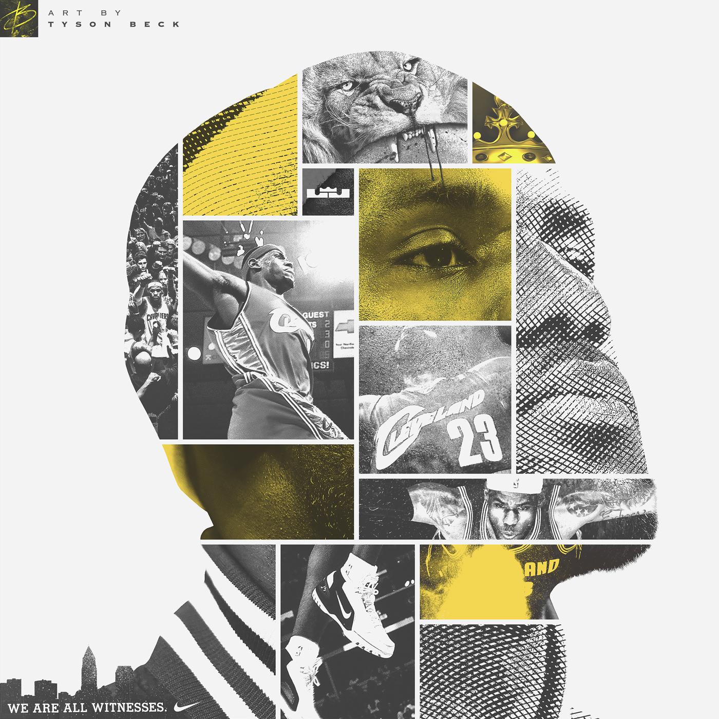LeBron james Face of Cleveland artwork basketball sport Nike NBA king james Tyson Beck art Dgitial