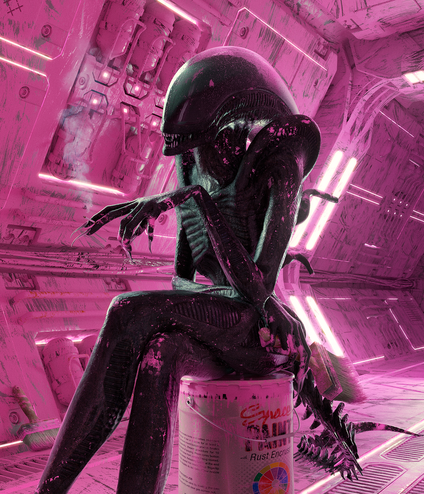 alien,grace jones,rose,pink,sci-fi,Space ,painting  ,80's