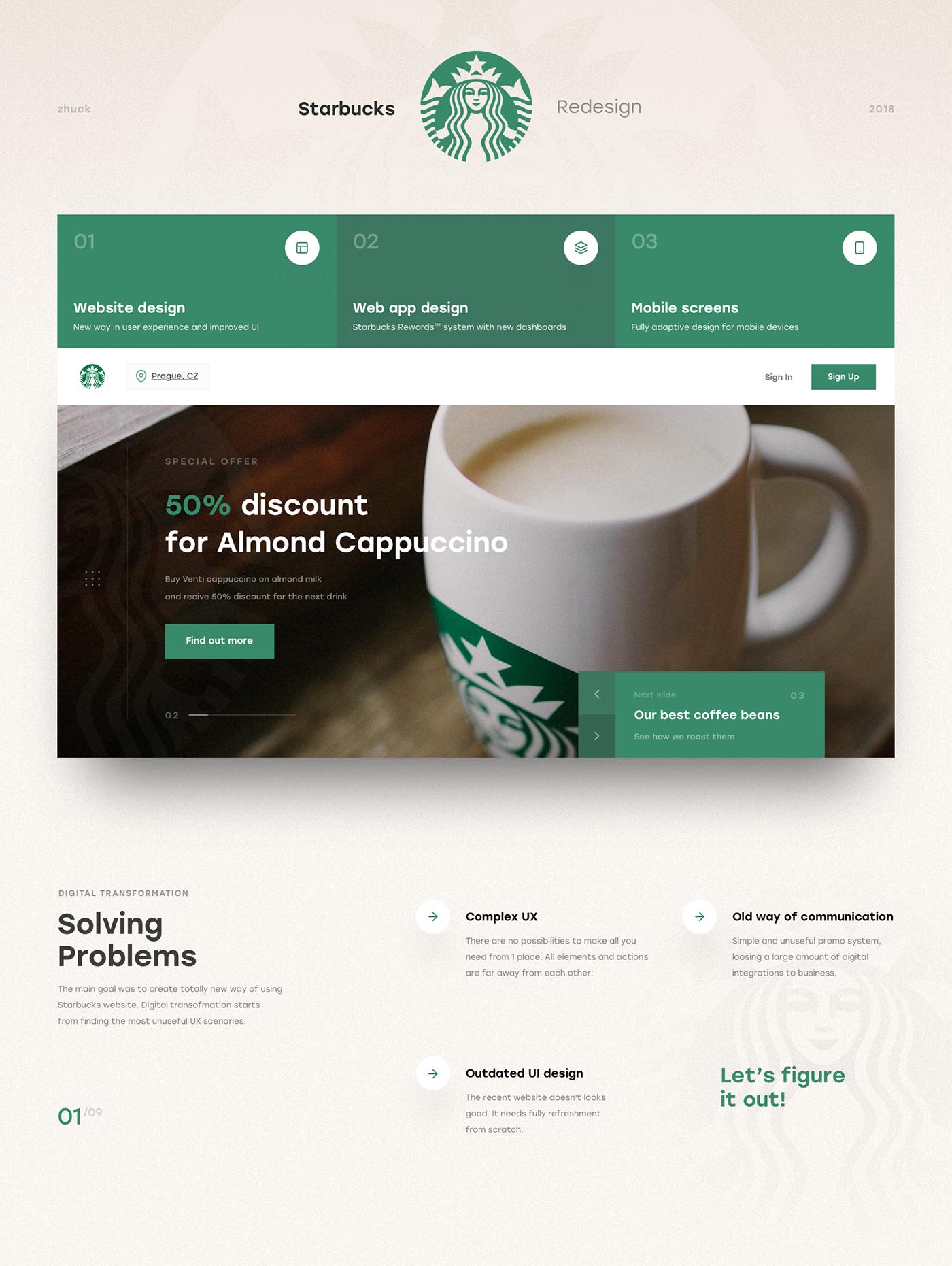 ux UI starbucks Coffee Web Design  ios Interface redesign mobile iphone