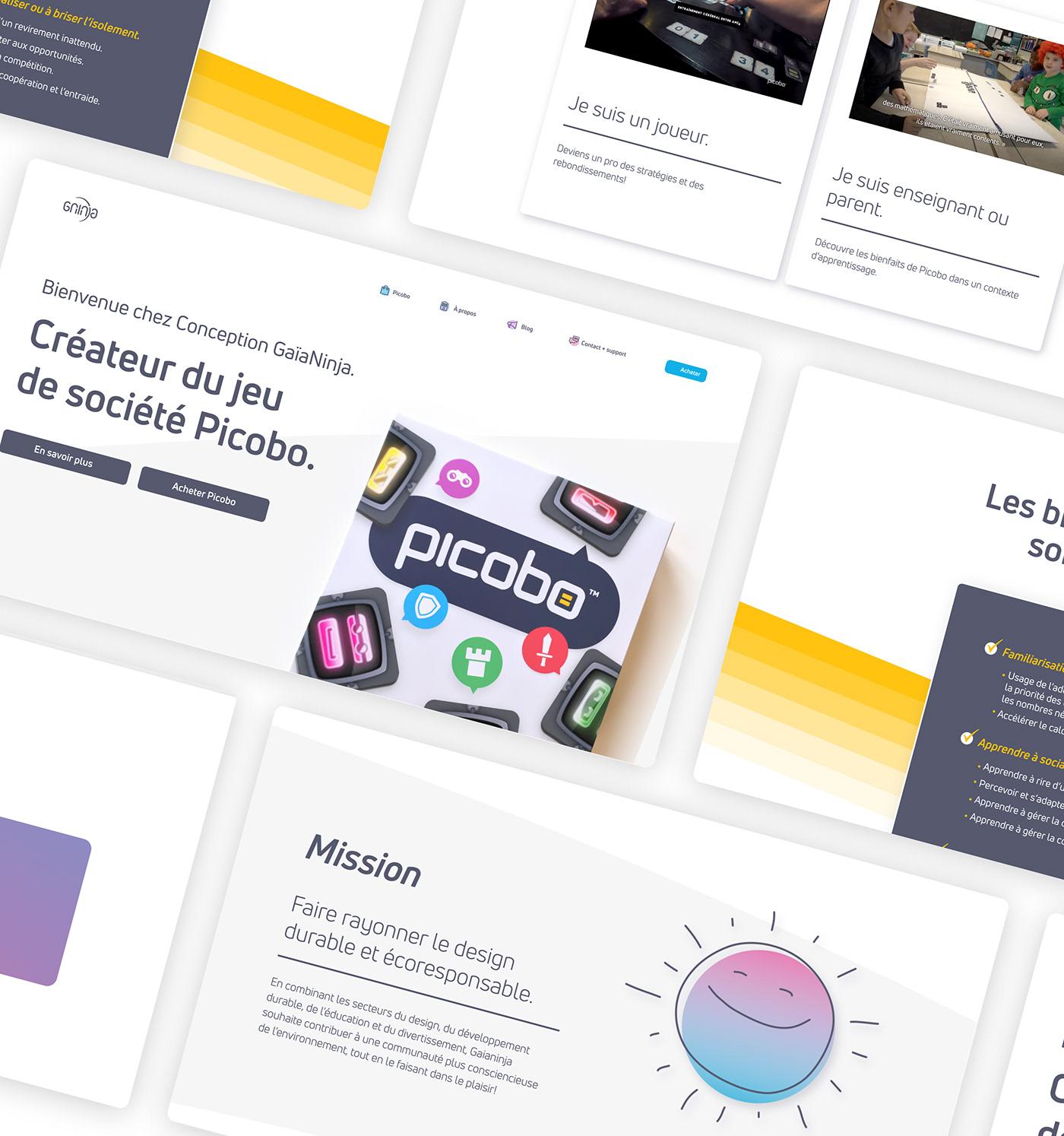 graphic design  Web Design  Conception gaianinja Interface picobo SEO UI ux Website