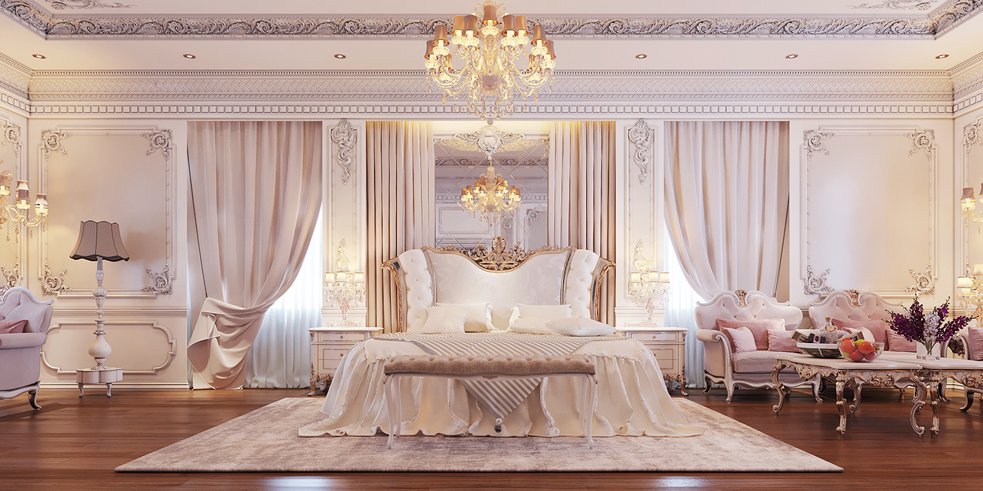 bedroom Classic design interior design  3drender modeling Visual Effects  Victorian
