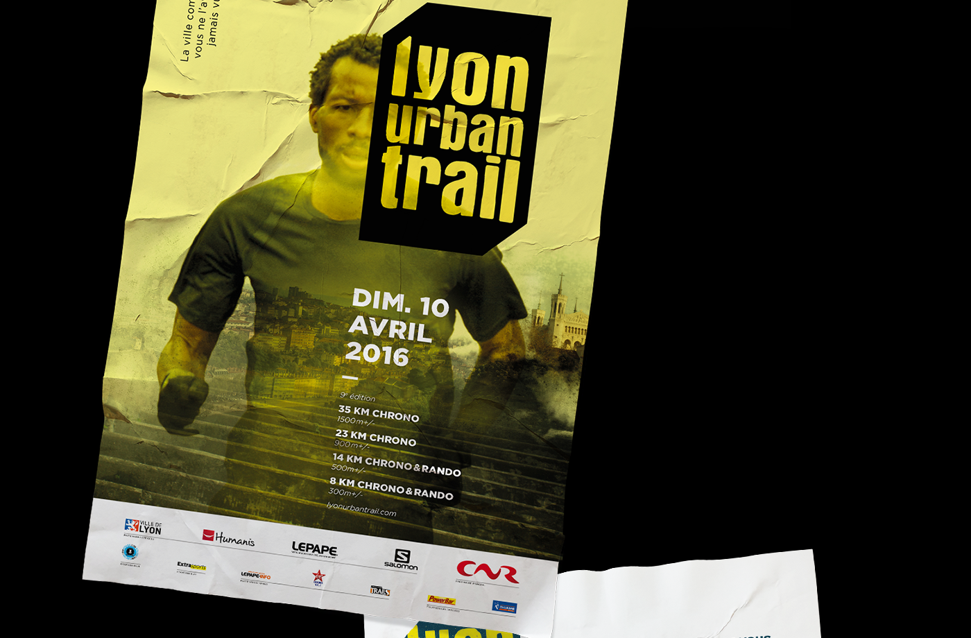 trail run poster lyon sport lights city trailers runner saint-etienne