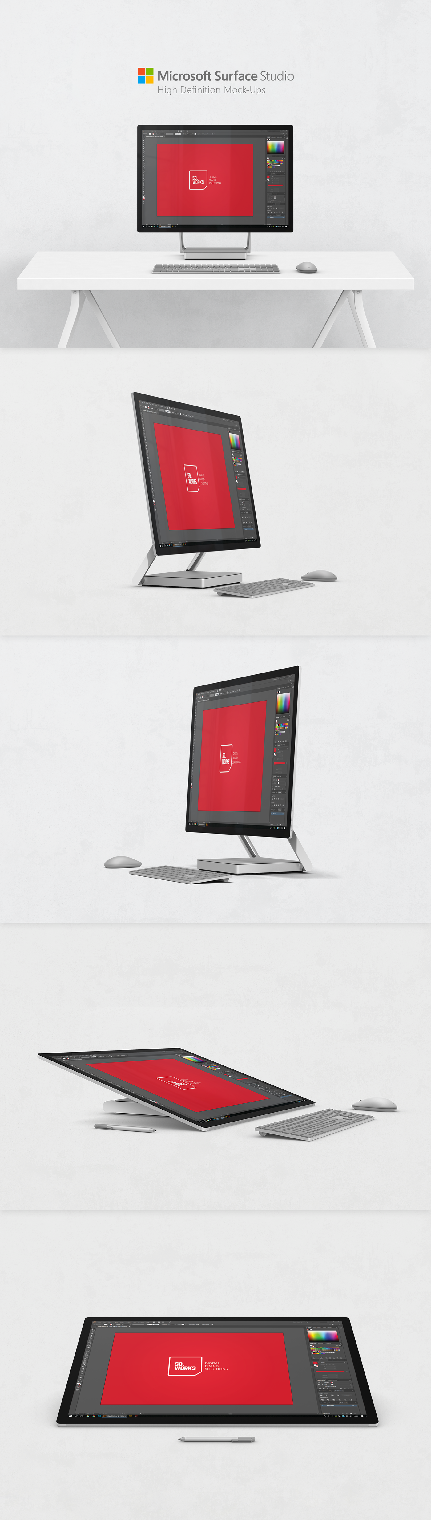 surface Surface Studio Microsoft PC Mockup mock-up free desktop Computer screen