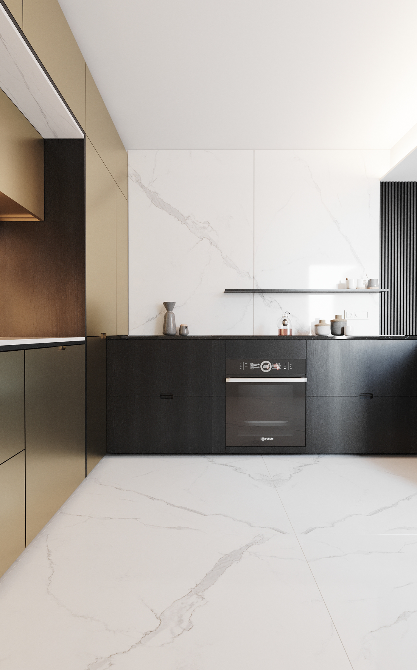 black brass Calacatta Cucina gold Interior kitchen Marble noir ottone