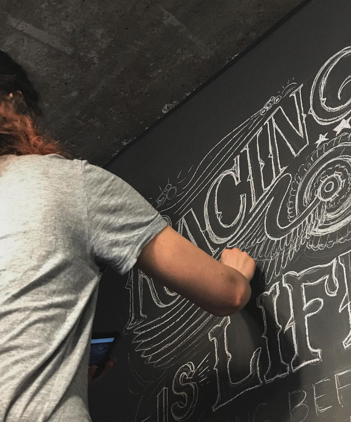 lettering,typography art,Hand Lettered,chalkboard Art,chalk mural,Mural,Lettering Art,Chalk art,Harley Davidson,vintage font