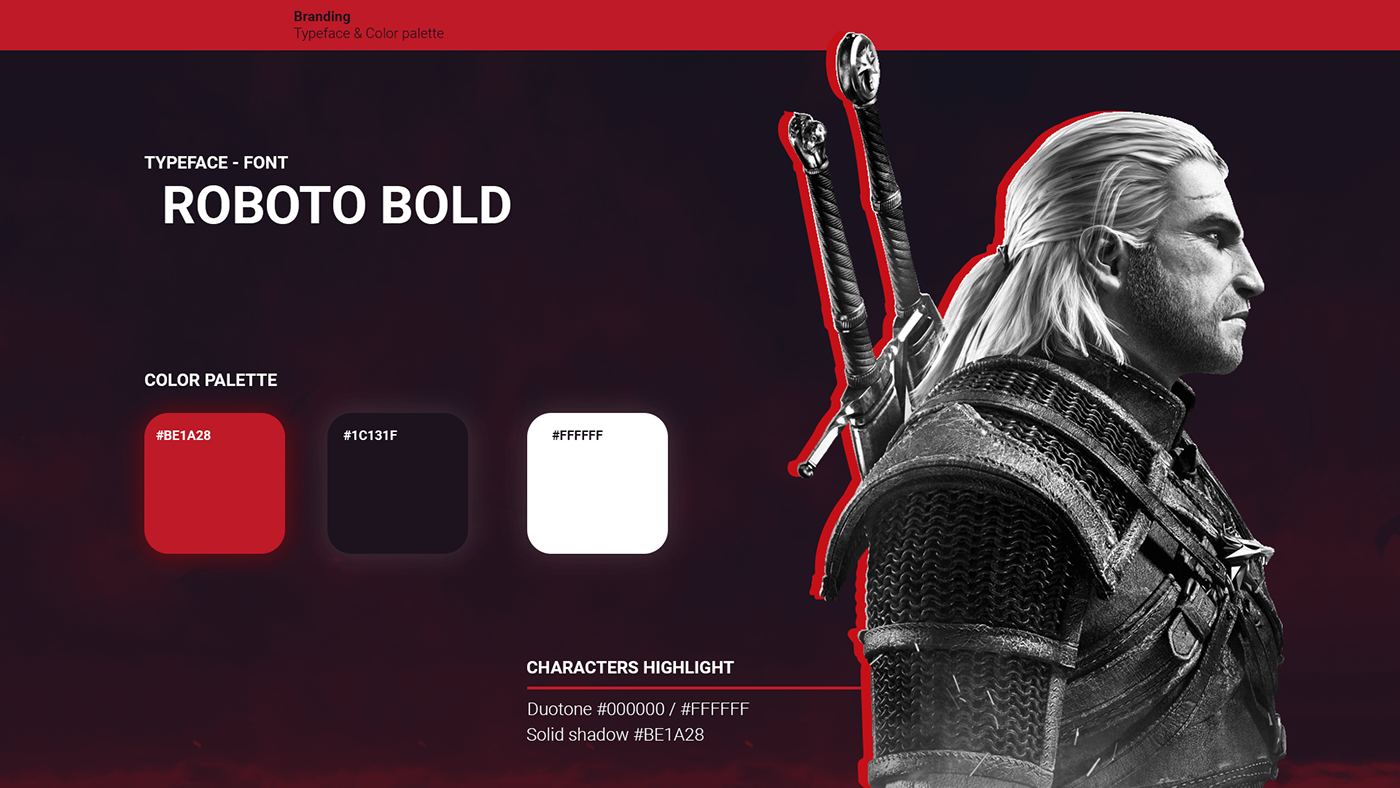 Brand Guidelines for the Witcher III : Typeface, colors