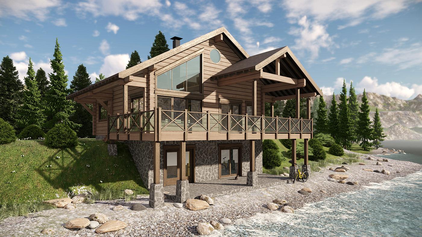 architecture wood house chalet Render 3ds max lumion architect exterior
