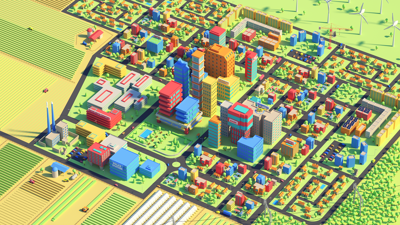 Low-Poly City on Behance
