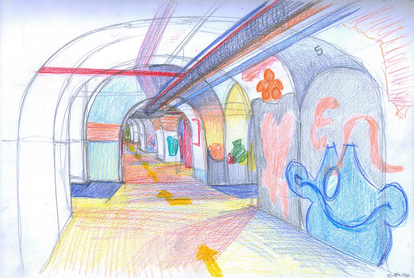 Tabacalera madrid arquitectura collage color watercolor gouache pincel lapices de colores centro social autogestionado centro cultural