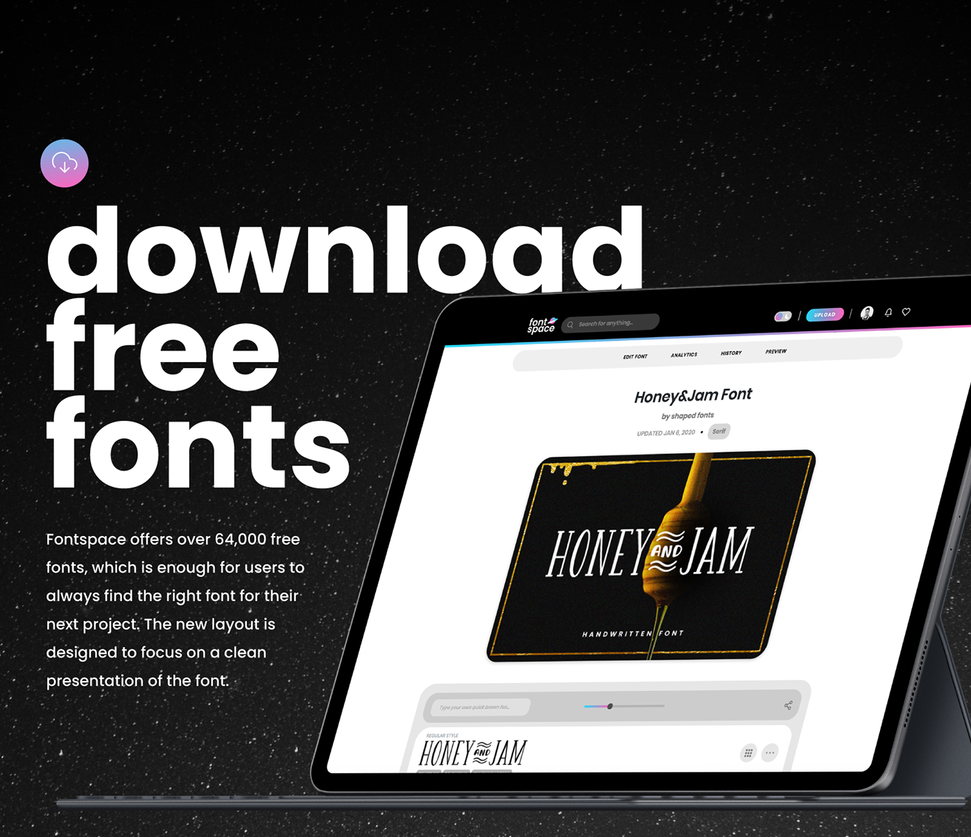 fonts fontspace free rebranding redesign browse collections dark mode branding  ui design