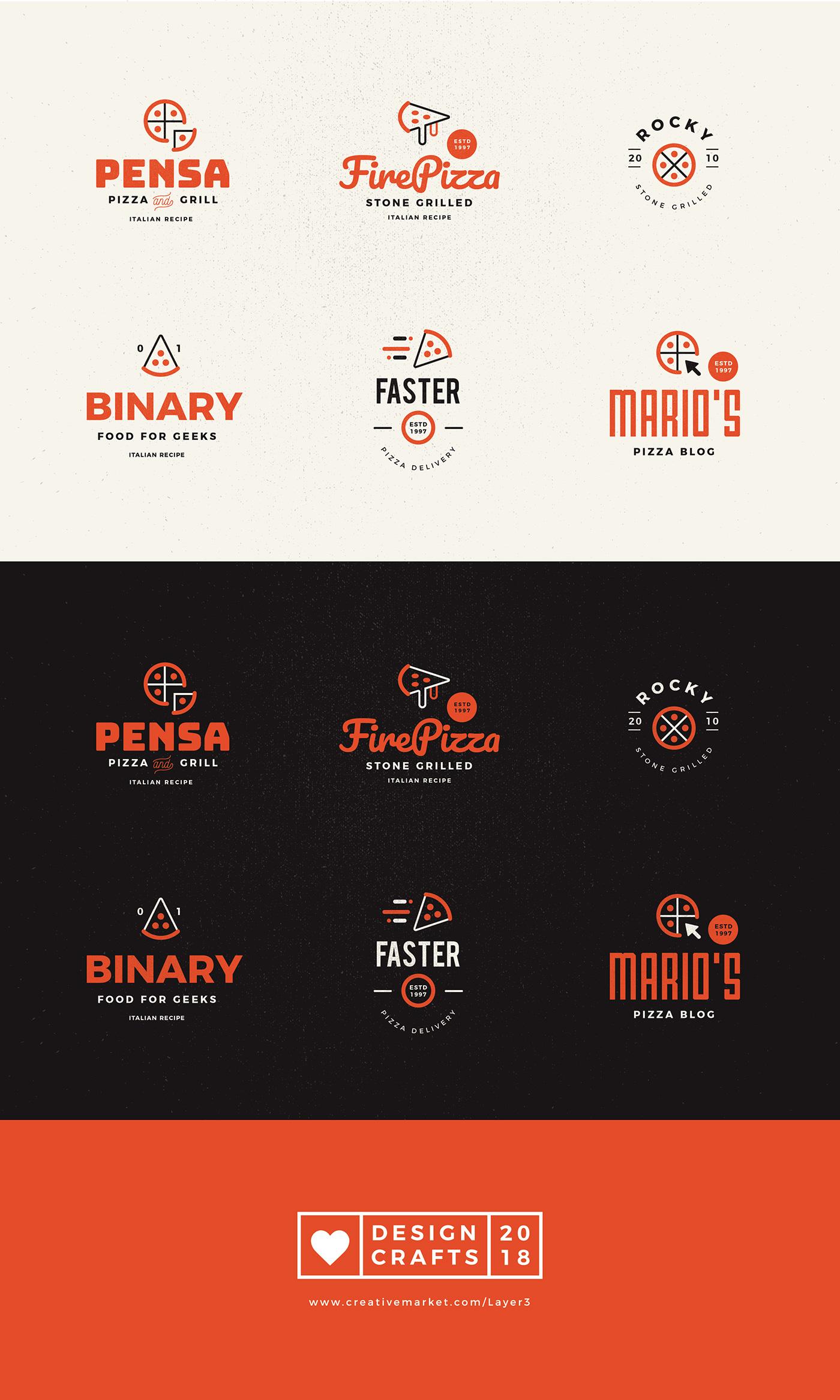Badges emblem logo branding  Food  pizza logo