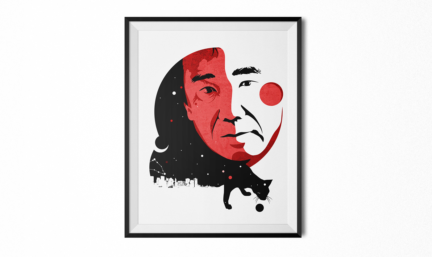 Julio Cortasar Michail Bulgakov Haruki Murakami lewis carroll portrait vector ILLUSTRATION  book Love Magic