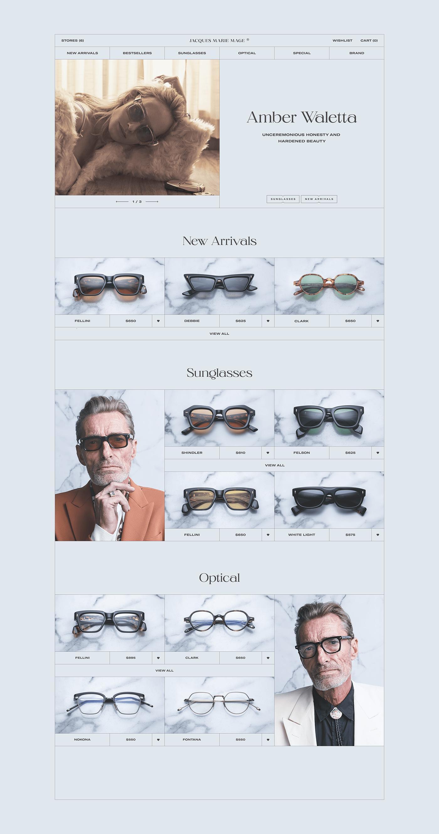 e-commerce Fashion  glasses typography   UI ux