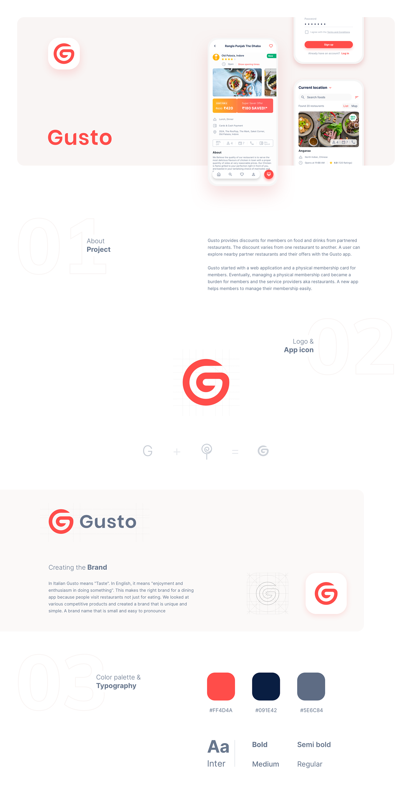 Gusto Dining Privileges App On Behance