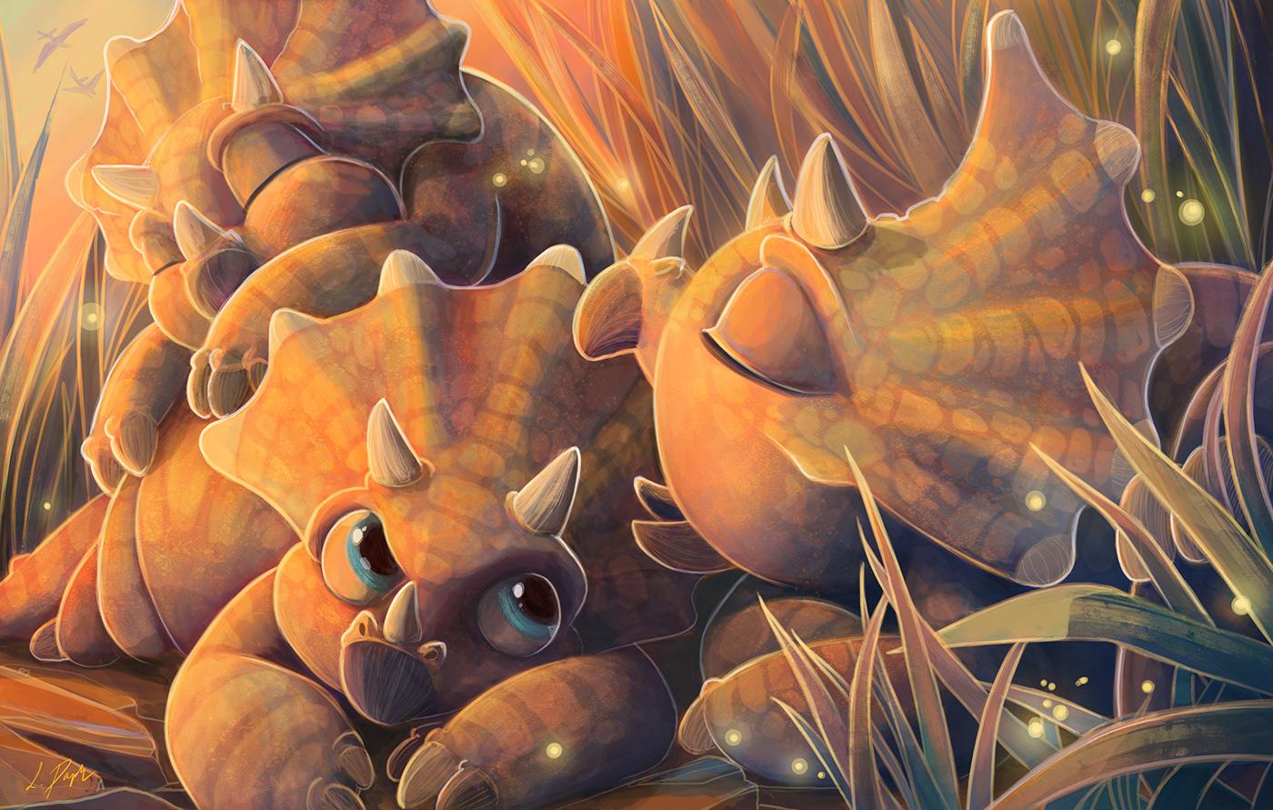 babies cute dinosaurs ILLUSTRATION  prehistoric triceratops