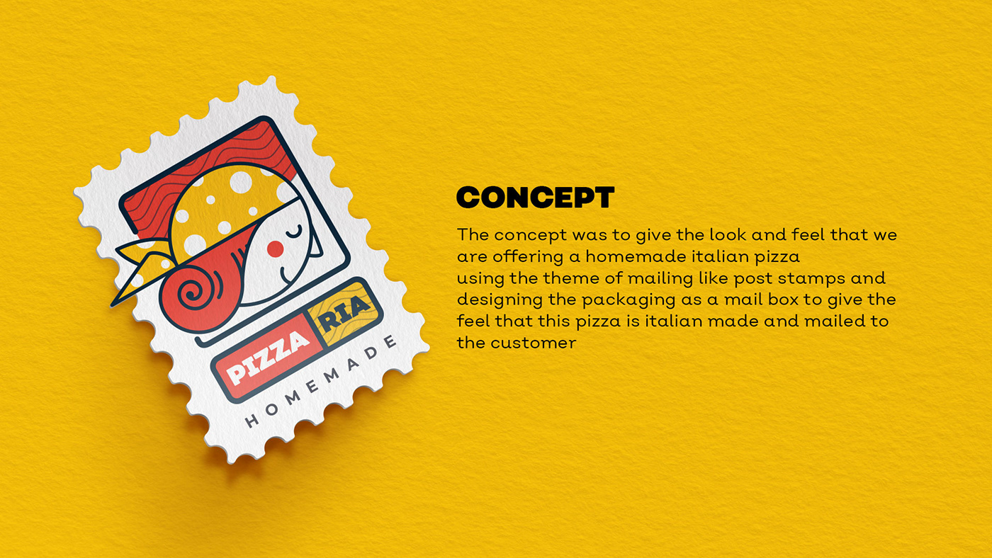 Pizza logo Pack Packaging branding  slice stamp mail mailbox post