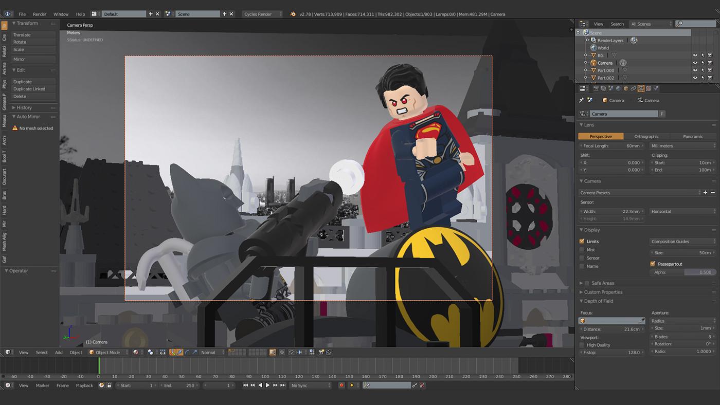 b3d,Render,CGI,cycles,LEGO,filmic,batman,superman