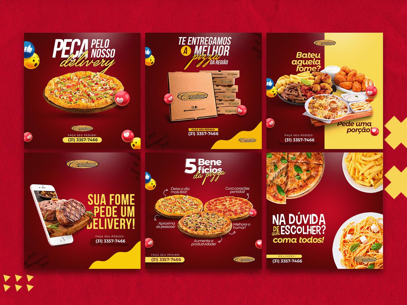 banner delivery Food  mídias sociais pizzaria promocional restaurante social media