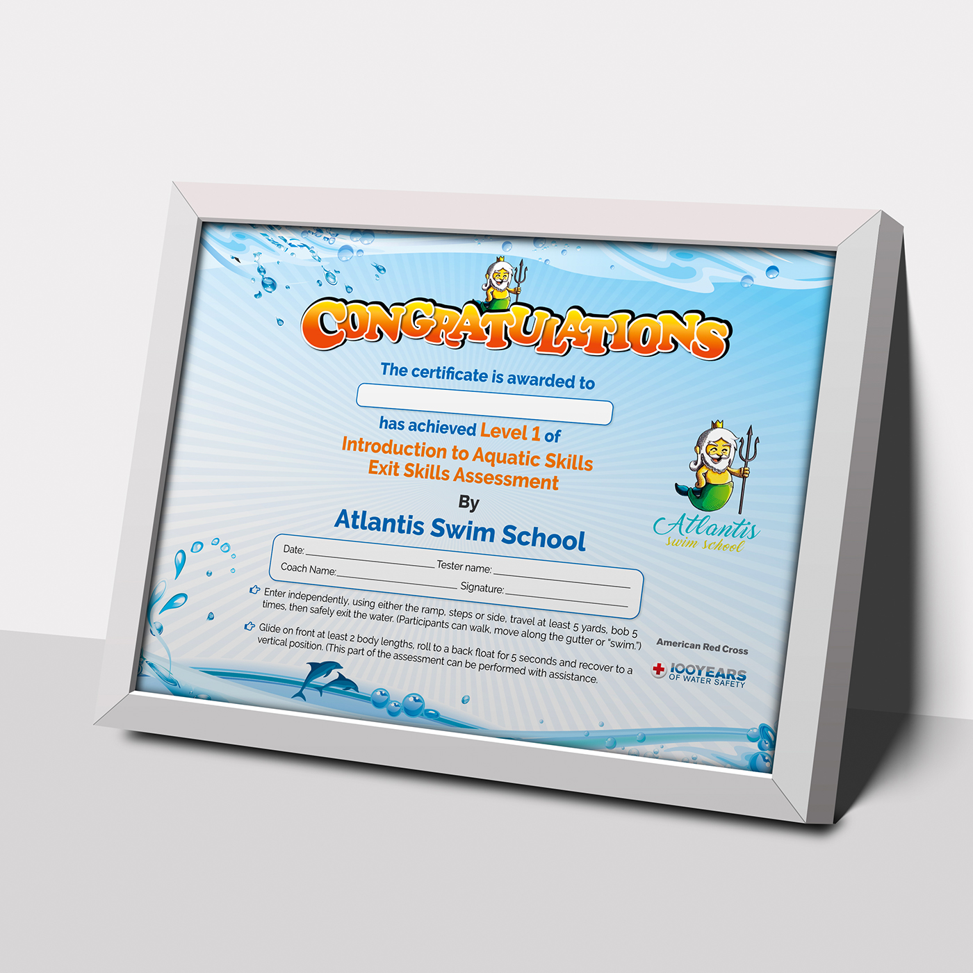 Swimming Certificate Template On Behance