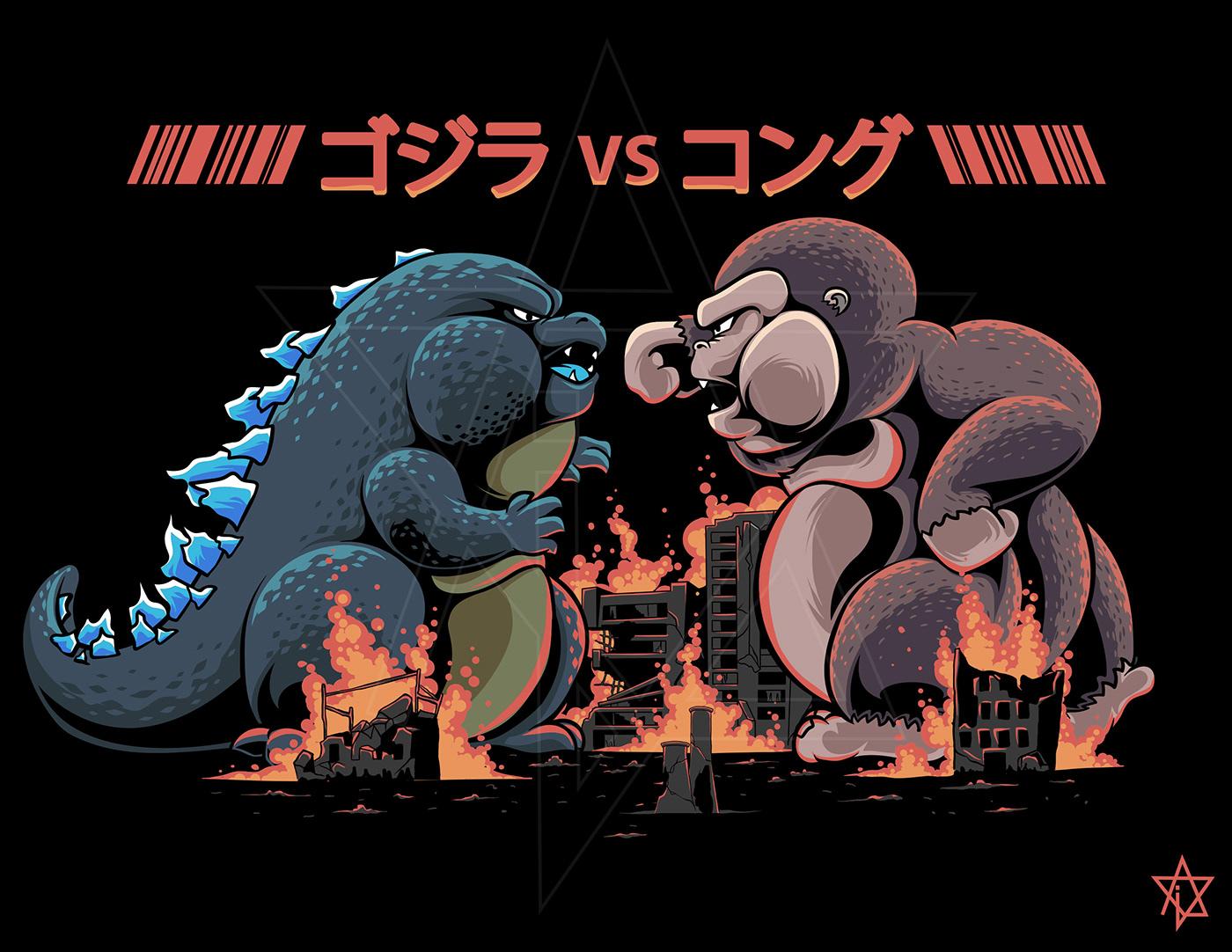 chibi,godzilla,Godzilla vs Kong,ILLUSTRATION ,kong,vector