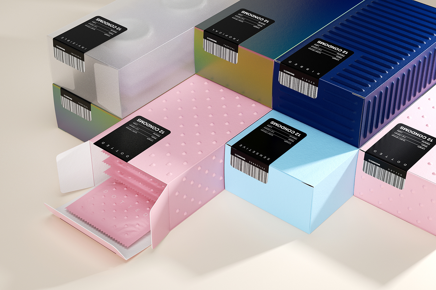 Packaging condoms materials touch simplycity dots stripes dotted invisible arbuzov