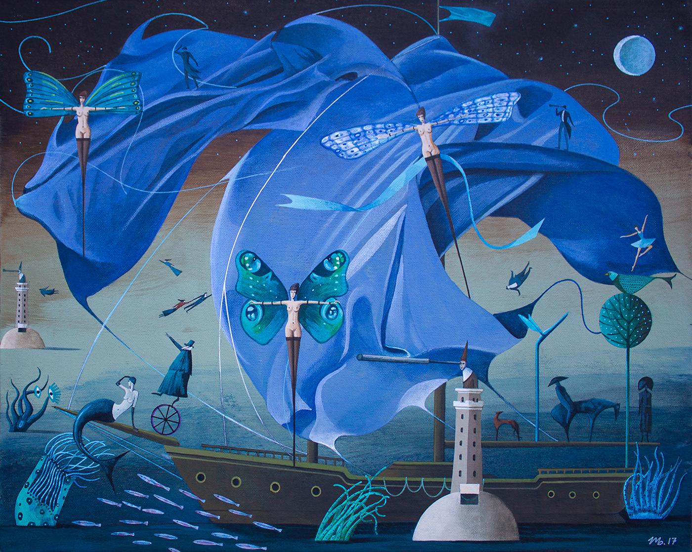 ILLUSTRATION  painting   fine art surrealism fantasy storytelling   imagination Children's Books story blue