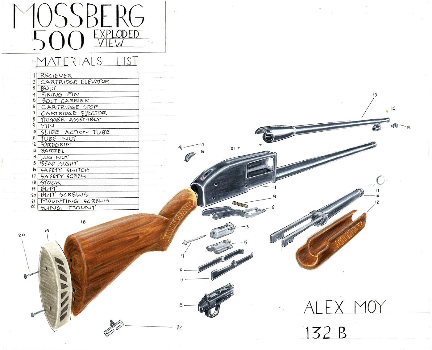 Mossberg 500 Exploded Diagram Simple Electrical Wiring 702 View 500a On Behance 935 Gun Parts Of A