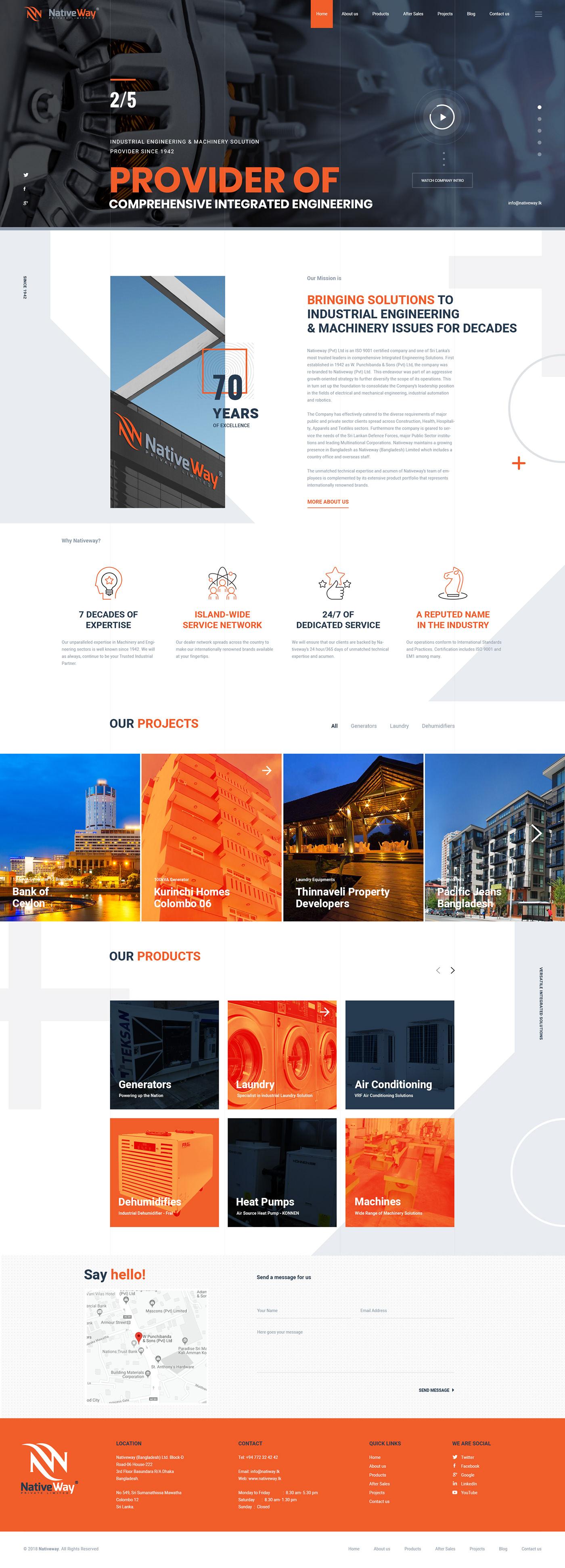industrial web design orange and black Web Design  construction industrial construction company UI/UX Construction Web Design