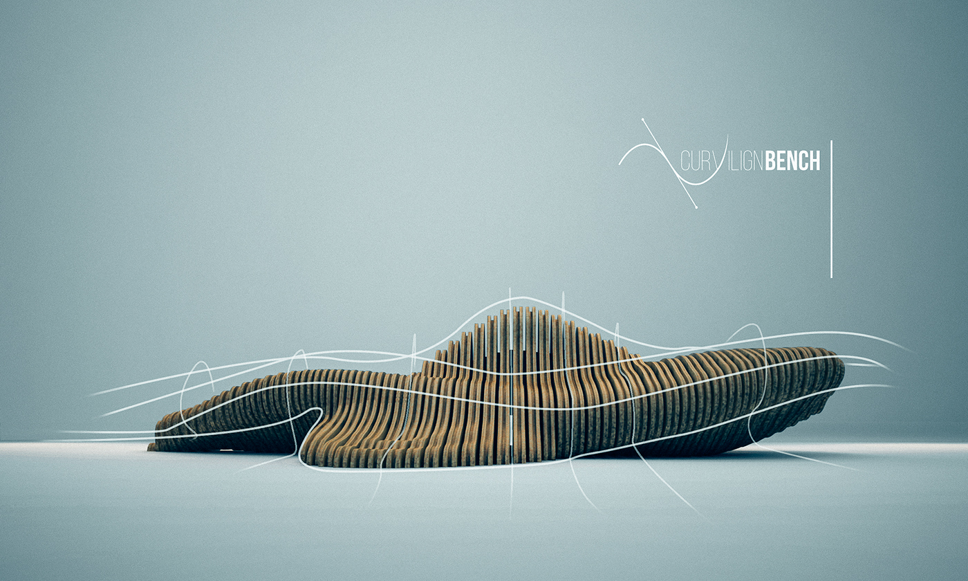 Parametric design curvilign bench on behance for Chair design 3ds max