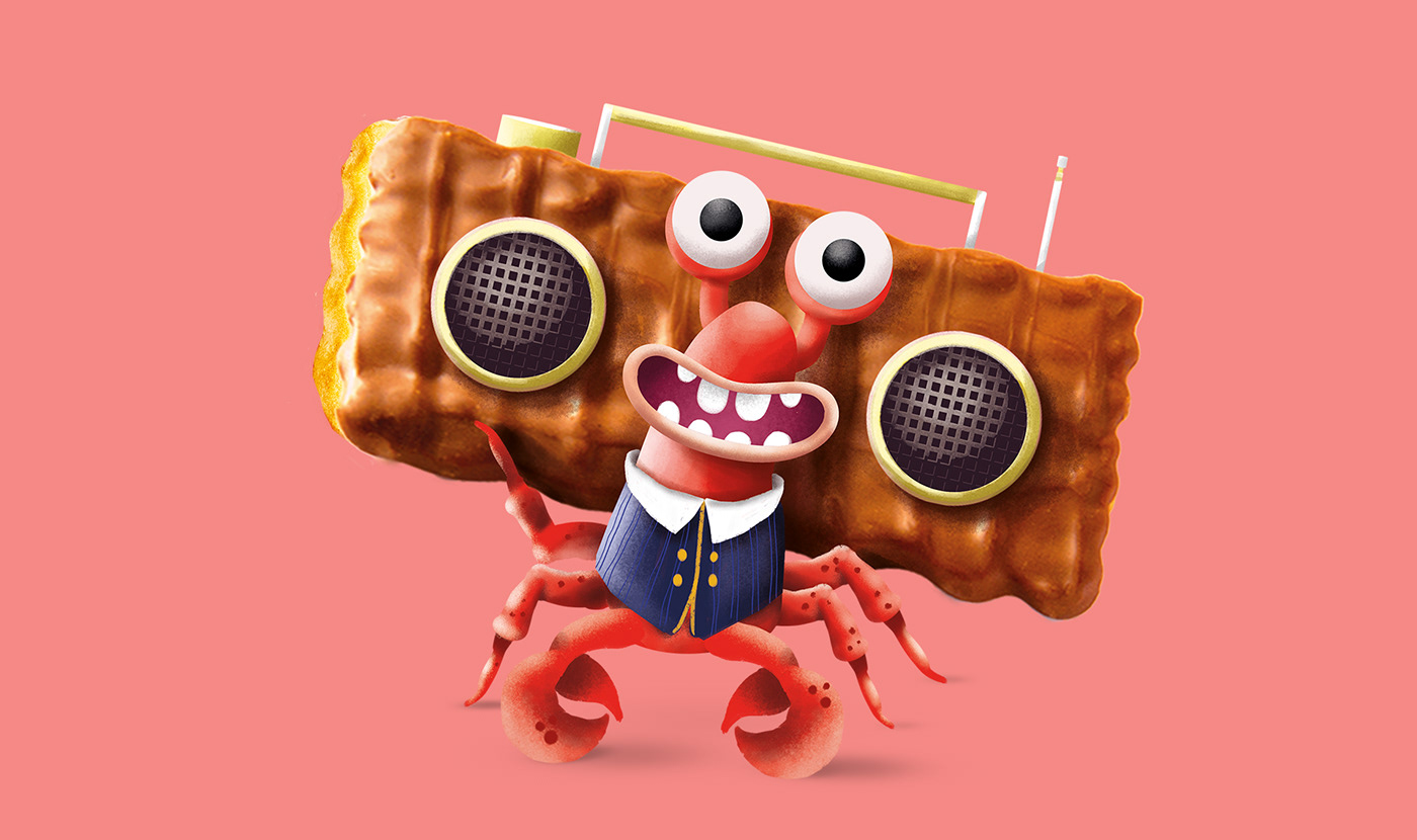 Character cookies disco ghettoblaster kids lobster music Radio sea