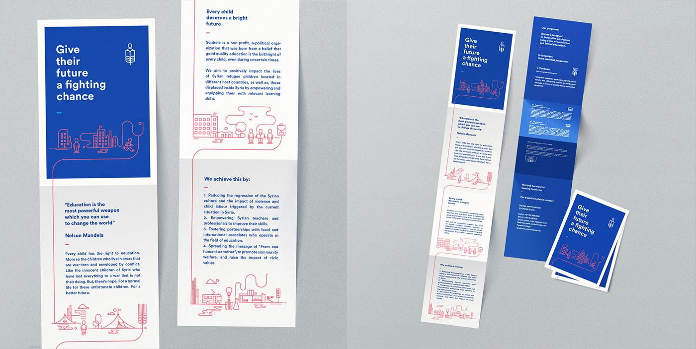 Education Syria syrian Refugees Formal brand identity logo brochure dubai human United Nations rights children